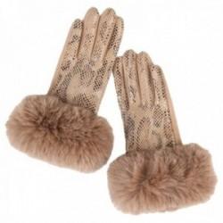 Guantes Lola Casademunt efecto serpiente brillante beige palma terciopelo puños fake fur