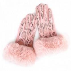 Guantes Lola Casademunt efecto serpiente rosa palma terciopelo puños fake fur