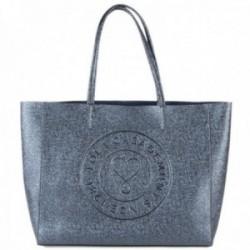 Bolso shopper Lola Casademunt efecto brillante azul marino interior bolsa organizadora
