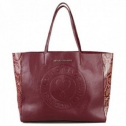 Bolso shopper Lola Casademunt burdeos laterales efecto serpiente interior bolsa organizadora