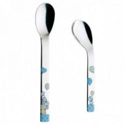 Set 2 cucharas papilleras acero inox. 18/10 infantil Puresigns animales esmaltados azul trasera lisa