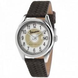 Reloj Vespa hombre VA-HE03-SS-02WT-CP Heritage Three Hands acero inoxidable correa trenzada cuero