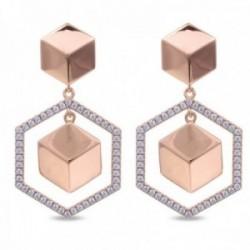 Pendientes Luxenter plata Ley 925m baño oro rosa colección Ciete hexágono circonitas formas regulare