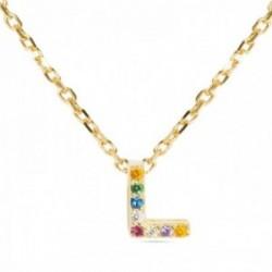 Gargantilla Luxenter plata Ley 925m baño oro colgante letra L mayúscula circonitas multicolor