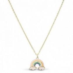 Gargantilla Luxenter plata Ley 925m baño oro colección Lisyl arco iris todo saldrá bien circonitas