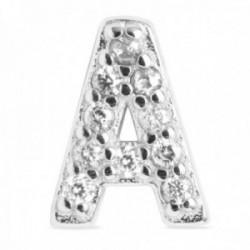Colgante Luxenter plata Ley 925m baño rodio letra A mayúscula 7mm. circonitas micropavé blancas