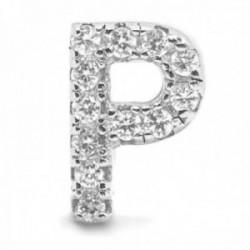 Colgante Luxenter plata Ley 925m baño rodio letra P mayúscula 6.9mm. circonitas micropavé blancas