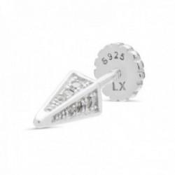 Pendiente medio par Luxenter piercing plata Ley 925m rodiada colección Retthor pirámide circonitas