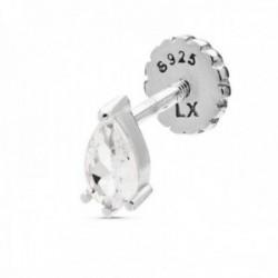 Pendiente medio par Luxenter piercing plata Ley 925m baño rodio colección Wenthas gota circonita