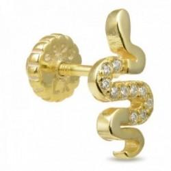 Pendiente medio par Luxenter piercing plata Ley 925m baño oro colección Turhad serpiente circonitas