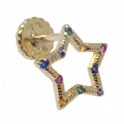 Pendiente medio par Luxenter plata Ley 925m baño oro colección Habku estrella circonitas multicolor