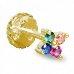 Pendiente medio par Luxenter plata Ley 925m baño oro colección Phanvi flor circonitas multicolor