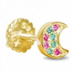 Pendiente medio par Luxenter piercing plata Ley 925m baño oro colección Mukri luna circonitas