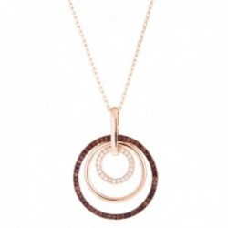 Gargantilla Luxenter plata Ley 925m baño oro rosa colección Delrex colgante triple aro circonitas