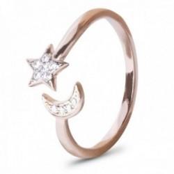 Sortija abierta Luxenter plata Ley 925m baño oro rosa colección Konfa estrella luna circonitas