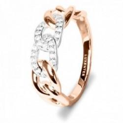 Sortija Luxenter plata Ley 925m bicolor baño rodio y oro rosa colección Damdi circonitas eslabones