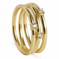 Sortija Luxenter plata Ley 925m baño oro colección Carsara efecto anillo triple circonitas blancas