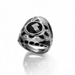 Sortija Viceroy 1070A015-95 plata Ley 925m esmalte negro piedra negra pequeñas laterales blancas