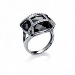 Sortija Viceroy 8007A012-35 plata Ley 925m talla 12 piedra oval negra pequeñas blancas
