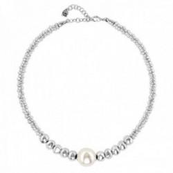 Gargantilla Unode50 Moody COL1504BPLMTL0U colección Balance metal chapado plata cuero perla