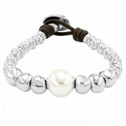 Pulsera Unode50 Moody PUL1953BPLMAR0M colección Balance metal chapado plata cuero perla