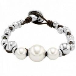Pulsera Unode50 Flighty PUL1967BPLMAR0M colección Balance metal chapado plata cuero perlas