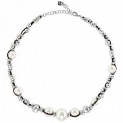 Gargantilla Unode50 Flighty COL1516BPLMAR0U colección Balance metal chapado plata cuero perlas