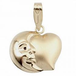 Colgante oro 18k luna corazón 16x16 mate y brillo [6078]