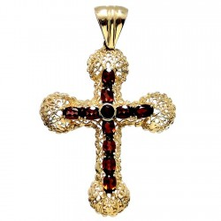 Colgante cruz oro 18k filigrana granate [6084]