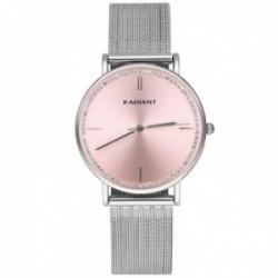 Reloj Radiant mujer RA541601 Alliance esfera rosa piedras blancas malla milanesa