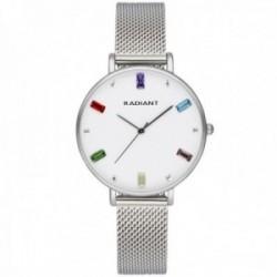 Reloj Radiant mujer RA542601 Tiara esfera piedras colores malla milanesa
