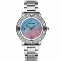 Reloj Radiant mujer RA564204 Frozen plateado esfera brillo rosa azul piedras blancas
