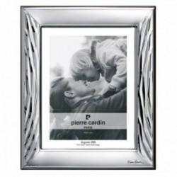Marco portafotos Pierre Cardin plata Ley 925m bilaminada foto 9x13cm. efecto espejo líneas relieve