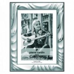Marco portafotos Pierre Cardin plata Ley 925m bilaminada foto 18x24cm. efecto espejo formas curvas