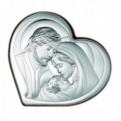 Imagen icono 8.5cm. plata Ley 925m bilaminada corazón Sagrada familia parte trasera madera