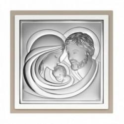 Imagen icono 11cm. plata Ley 925m bilaminada cuadrado Sagrada familia borde madera dos colores