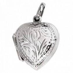Colgante plata Ley 925m guardapelo 20mm. corazón ambas caras detalles tallados