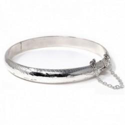 Pulsera media caña plata Ley 925m tallada dibujo diámetro 60mm. hueca cadena de seguridad