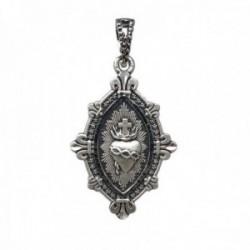 Medalla plata Ley 925m. maciza Corazón de Jesús 22mm. DETENTE unisex