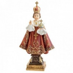 Figura Niño Jesús de Praga adorno 22cm. resina peana decoración