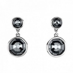 Pendientes Unode50 Double Trouble PEN0732GRSMTL0U colección Renaissance cristal Swarovski metal