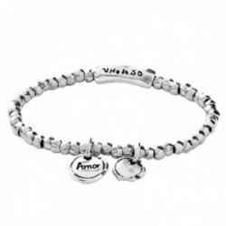 Pulsera Unode50 Amor Sellado PUL1596MTL0000M colección Lacres metal chapado plata elástica