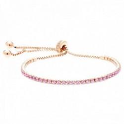 Pulsera Luxenter plata Ley 925m baño oro rosa colección Kileh circonitas rosas cierre corredizo