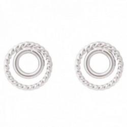 Pendientes Luxenter plata Ley 925m baño rodio colección Essential doble aros liso reliado