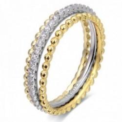 Sortija triple Luxenter plata Ley 925m baño oro rodio colección Sesaf bicolor circonitas