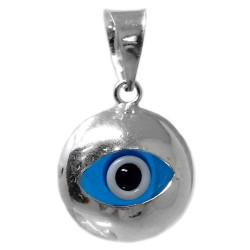 Colgante plata Ley 925m ojo turco 10mm. centro piedra color