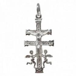 Colgante plata Ley 925m Cruz Caravaca maciza 39mm. delante Cristo atrás Virgen detalles