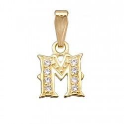 Colgante letra oro 18k inicial ''M'' alto 9mm. circonitas [6163]