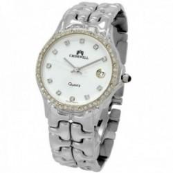 Reloj oro blanco 18k Cromwell hombre brillo bisel dígitos diamantes brillantes esfera blanca