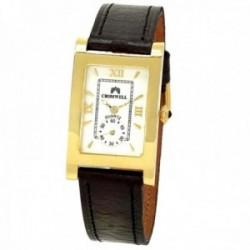 Reloj oro 18k Cromwell hombre brillo pulido esfera blanca rectangular segundero correa piel